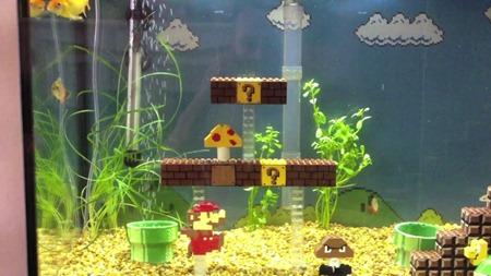 Super mario world themed fishtank made from lego djrioblog for Mario fish tank